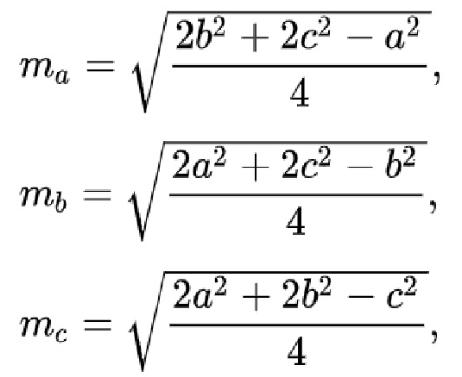 công thức liên quan tới độ dài của trung tuyến