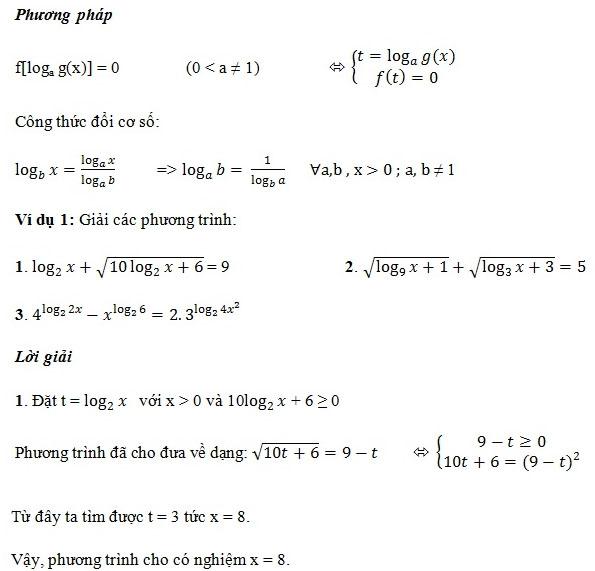 phương trinfg logarit dạng đưa về cùng cơ số