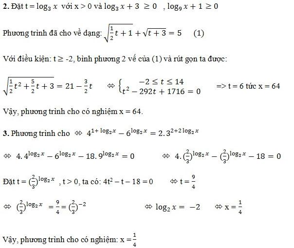 phương trình logarit đưa về cùng ẩn phụ
