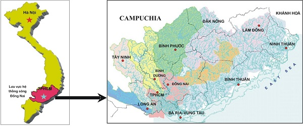bản đồ địa lý đông nam bộ