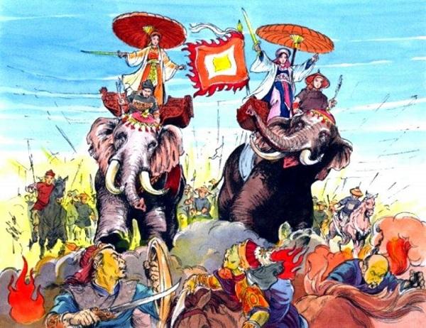 hình ảnh mô tả cuộc khởi nghĩa hai bà trưng