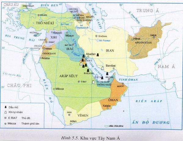 vị trí địa lý của khu vực tây nam á