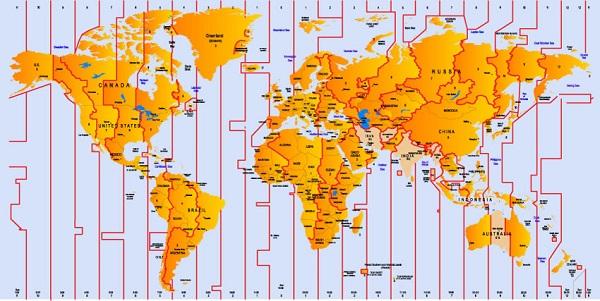 hệ mặt trời và trái đất cùng với bản đồ giờ thế giới