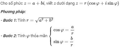 cách chuyển đổi số phức lượng giác sang số phức đại số