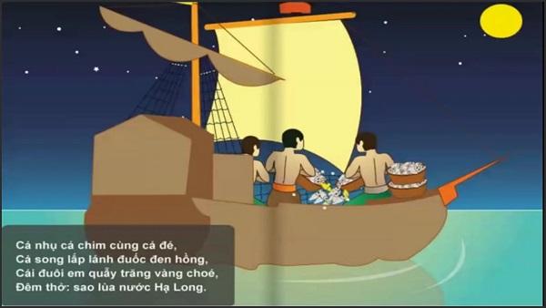 hình ảnh người dân lao động hăng say trong đêm khi soạn bài đoàn thuyền đánh cá