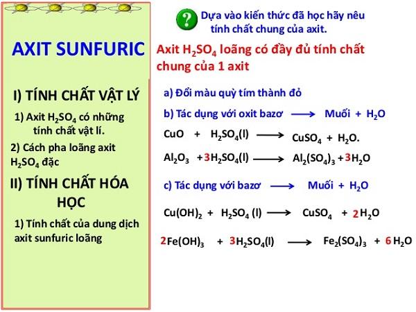 tính chất hóa học của axit và một số loại axit tiêu biểu
