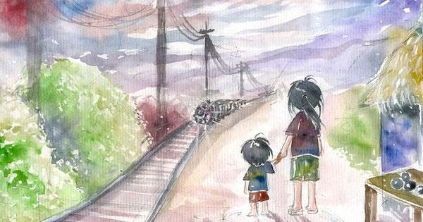 hình ảnh đoàn tàu trong hai đứa trẻ và chị em liên