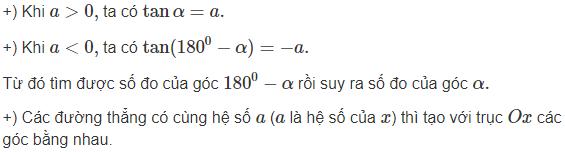 định nghĩa về hệ số góc của đường thẳng