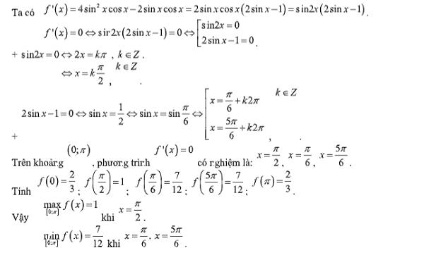 giá trị lớn nhất và nhỏ nhất của hàm số và hình ảnh minh họa