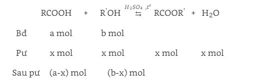 phản ứng este hóa là gì và dạng toán tính hằng số cân bằng