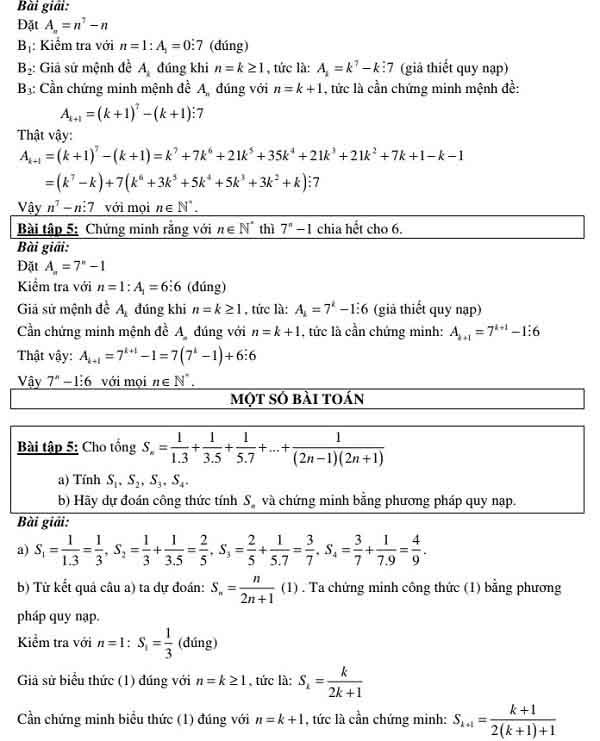 bài tập ví dụ về phương pháp quy nạp toán học