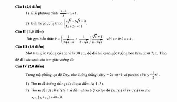 phương trình bậc hai một ẩn và hệ thức viet