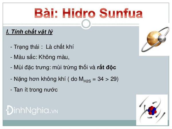 tính chất vật lý của hidro sunfua