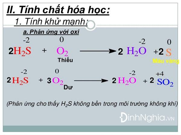 tính chất hóa học của hidro sunfua