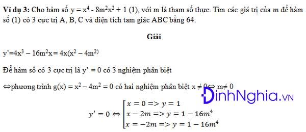 công thức tìm m để hàm số có 3 cực trị tạo thành tam giác
