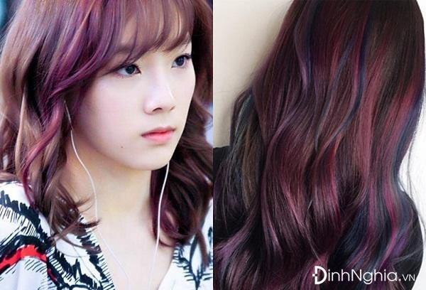 nhuộm tóc màu tím highlight nổi bần bật