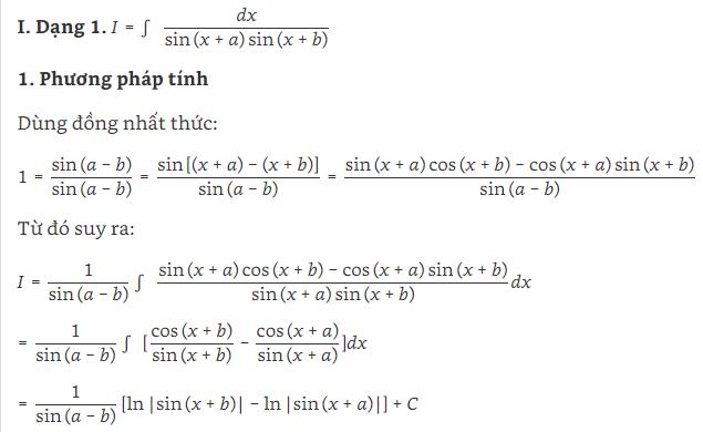 các dạng bài tập nguyên hàm lượng giác và hình ảnh 1