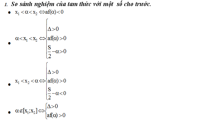 dấu của tam thức bậc hai và so sánh nghiệm của tam thức bậc 2
