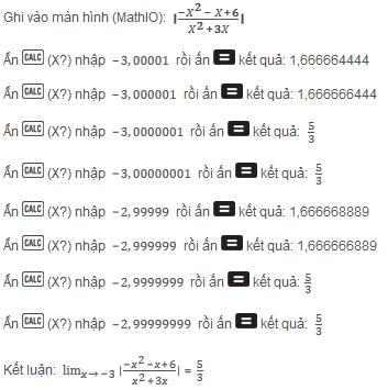 tính giới hạn của hàm số sau ví dụ