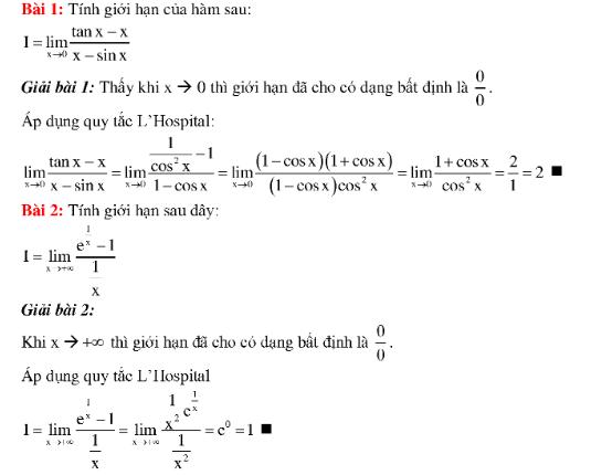 bài tập giới hạn hàm số toán cao cấp