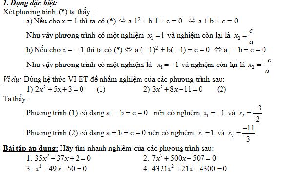 hệ thức viet qua dạng toán nhẩm nghiệm