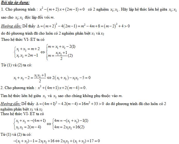 những dạng toán điển hình về định lý viet