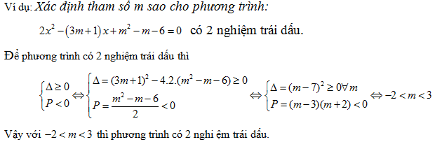 xác định các dấu phương trình bậc hai từ định lý viet