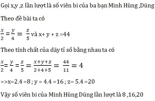 tính chất của dãy tỉ số bằng nhau và bài tập