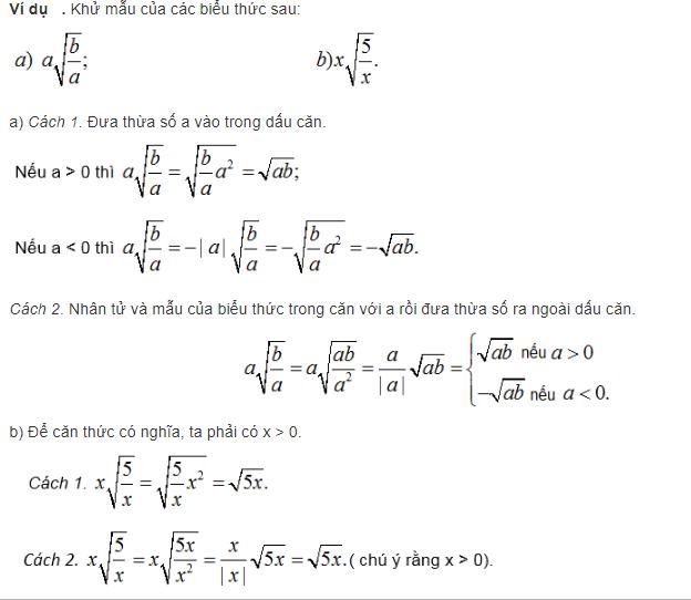 trục căn thức ở mẫu và biến đổi đơn giản biểu thức