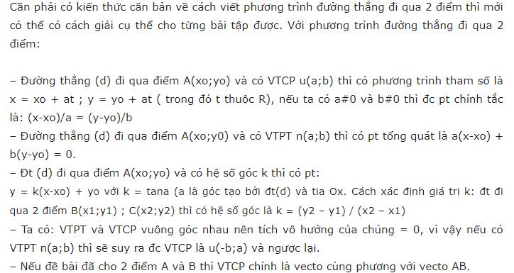 tổng hợp cách viết phương trình đường thẳng đi qua 2 điểm
