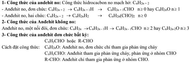 bài tập andehit với công thức hóa học andehit