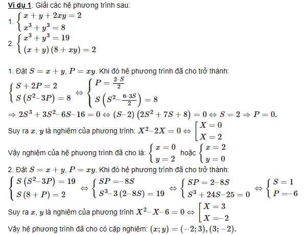 bài tập hệ phương trình đối xứng loại 1