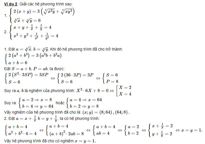 các dạng luyện tập hệ phương trình đối xứng loại 1