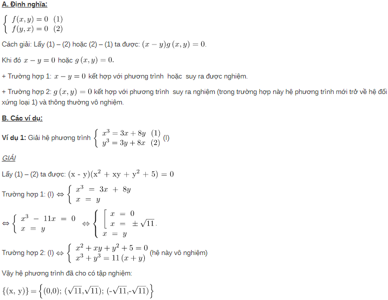 định nghĩa hệ phương trình đối xứng loại 2 là gì
