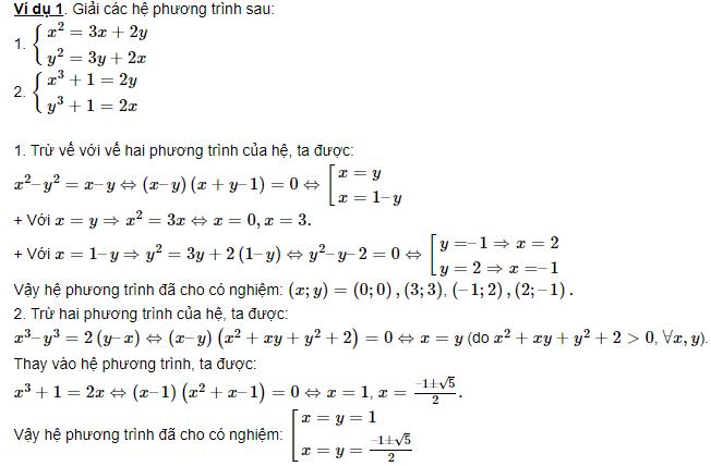bài tập về hệ phương trình đối xứng loại 2