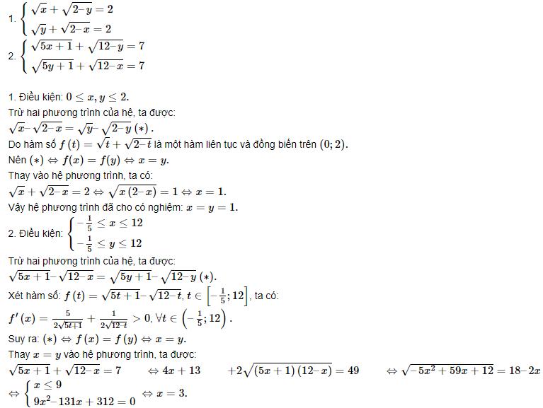 các dạng hệ phương trình đối xứng loại 2