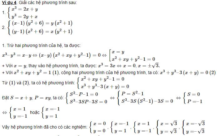 phân loại hệ phương trình đối xứng