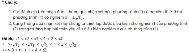số nghiệm của phương trình trùng phương
