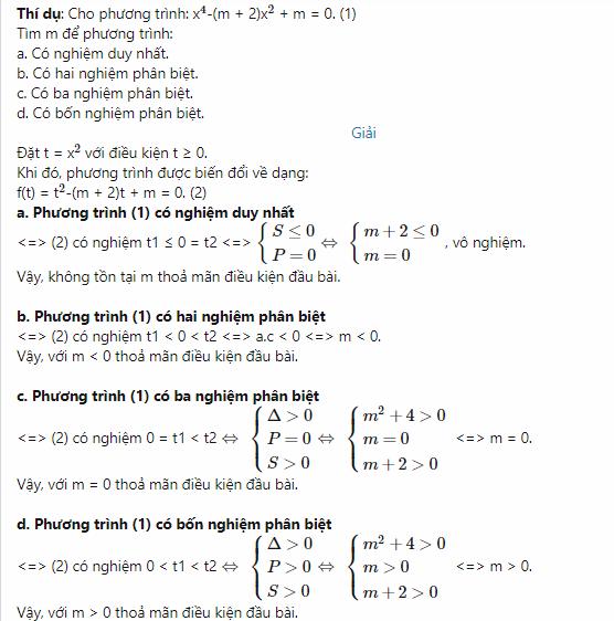 ví dụ về phương trình trùng phương