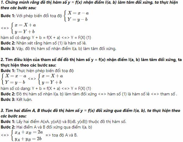 các dạng toán về tâm đối xứng của đồ thị hàm số