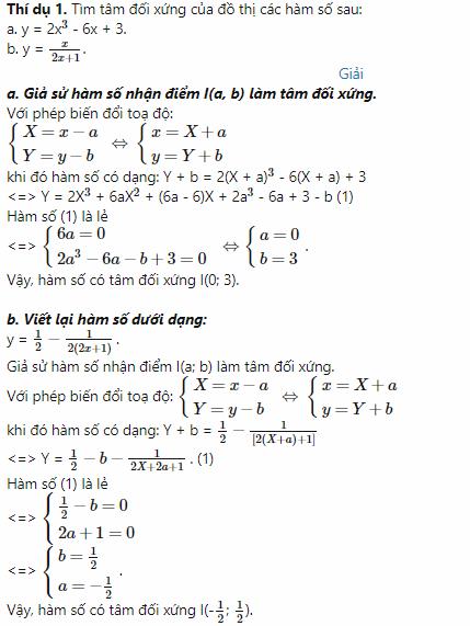 các dạng toán về tâm đối xứng của đồ thị hàm số hình ảnh 3