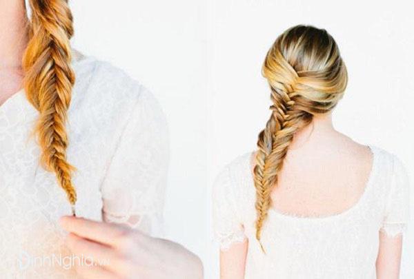 các kiểu tết tóc đẹp nhất với tóc đuôi cá lệch một bên