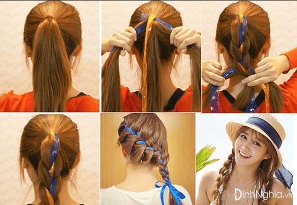 các kiểu tết tóc đẹp nhất với tết tóc có băng cài