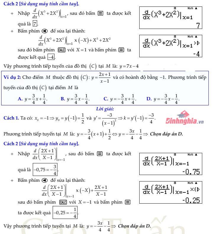bài tập tiếp tuyến của đồ thị hàm số