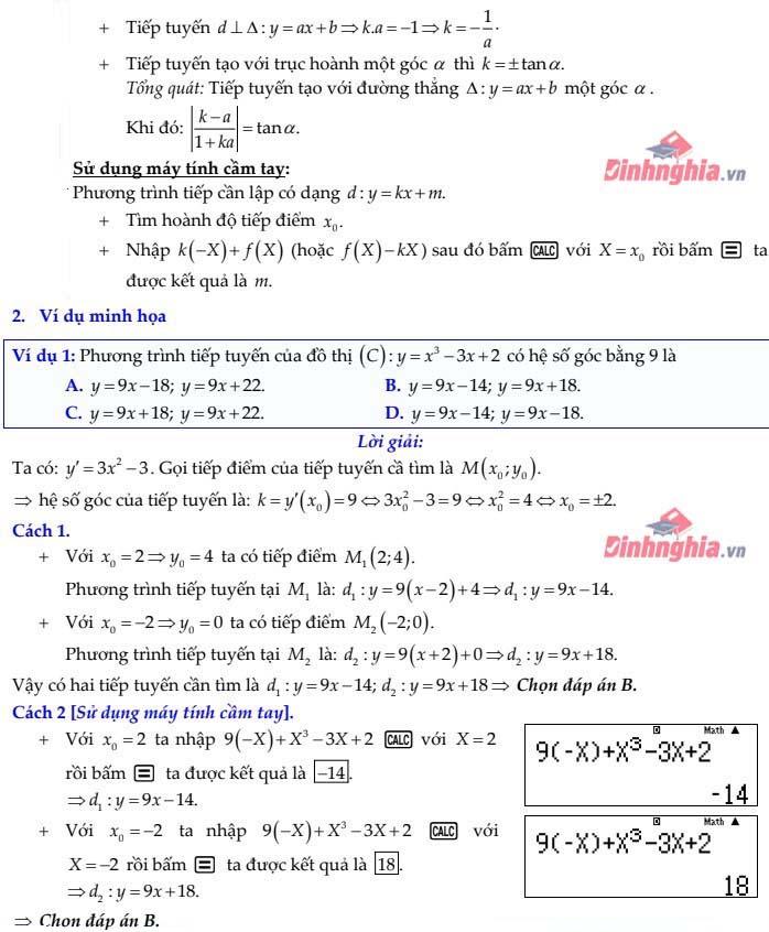 luyện tập về tiếp tuyến của đồ thị hàm số
