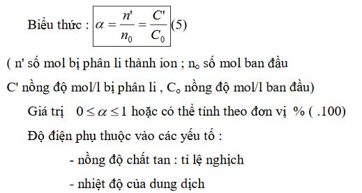 công thức hóa 11 về độ điện li