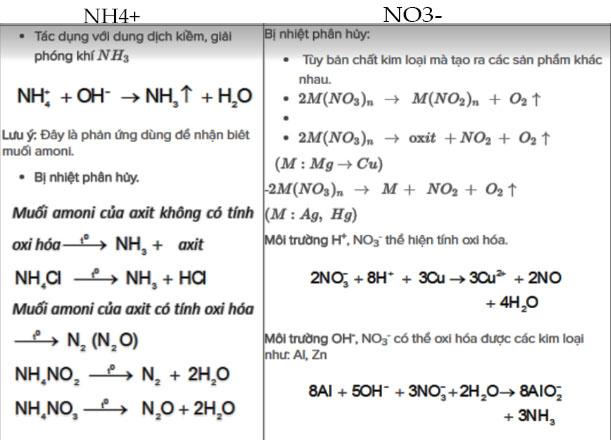 công thức hóa 11 của muối amoni