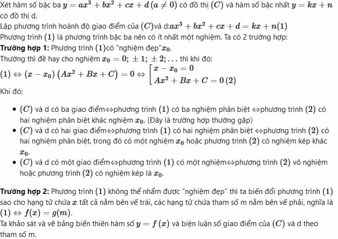 sự tương giao của đồ thị hàm số bậc 3 với đường thẳng