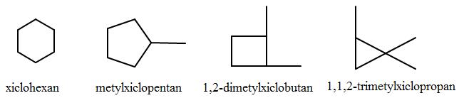 công thức cấu tạo của xicloankan