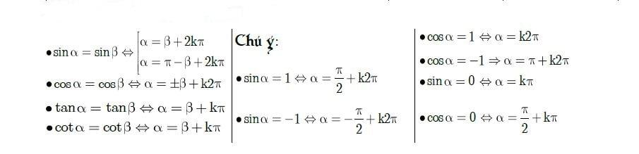 công thức nghiệm cơ bản về lượng giác